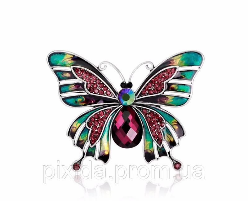 Брошь Бабочка мотылек  глазурь горный хрусталь покрытие серебром
