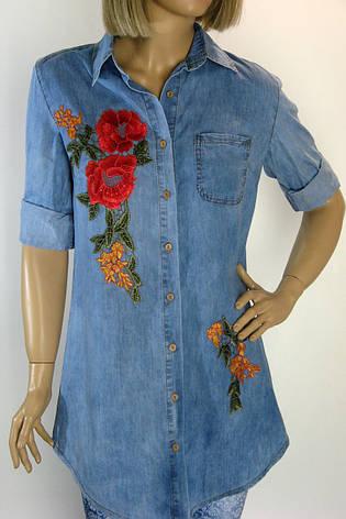Джинсова сорочка туніка з вишивкою NYX, фото 2