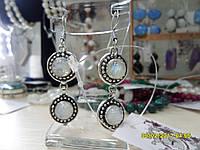 Серьги с лунным камнем. Серьги с натуральным лунным камнем в серебре. Индия!