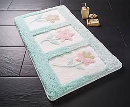 Ментоловый коврик для ванной с цветами 60х100 см Confetti Anjelik Mint Yesil CB38