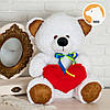 Плюшевый мишка Томми  с сердцем, 70 см, белый, фото 2