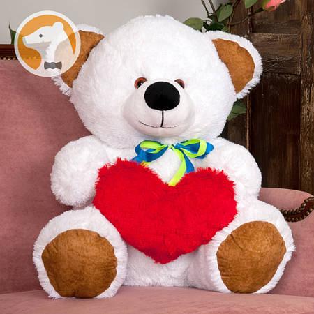 Плюшевый мишка Томми  с сердцем, 70 см, белый