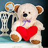 Плюшевый мишка Томми с сердцем, 70 см, кремовый