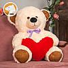 Плюшевый мишка Томми с сердцем, 70 см, кремовый, фото 4