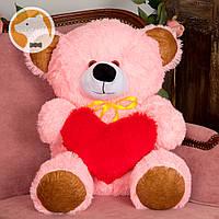 Плюшевый мишка Томми с сердцем, 70 см, розовый