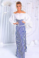 Модный женский сарафан в пол принт полоска / Украина / стрейч-джинс+креп-шифон