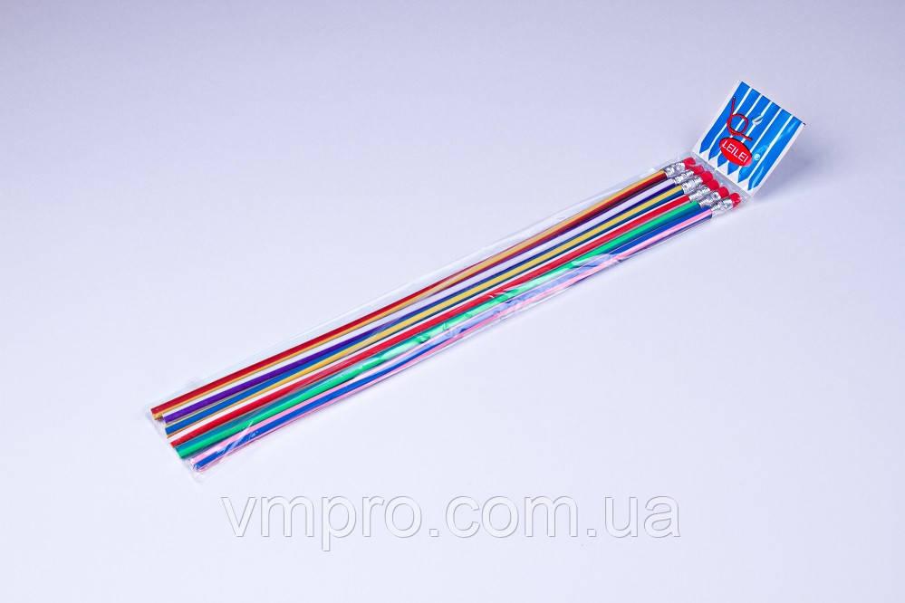 """Карандаши графитные пластиковые """"LeiLei"""" 30 см, гибкие с ластиком (6 шт)"""