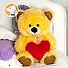 Плюшевый мишка Томми с сердцем, 70 см, карамельно-медовый, фото 3