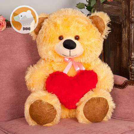 Плюшевый мишка Томми с сердцем, 70 см, медовый