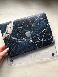 """Дизайнерский синий мраморный чехол для MacBook Air 11"""""""