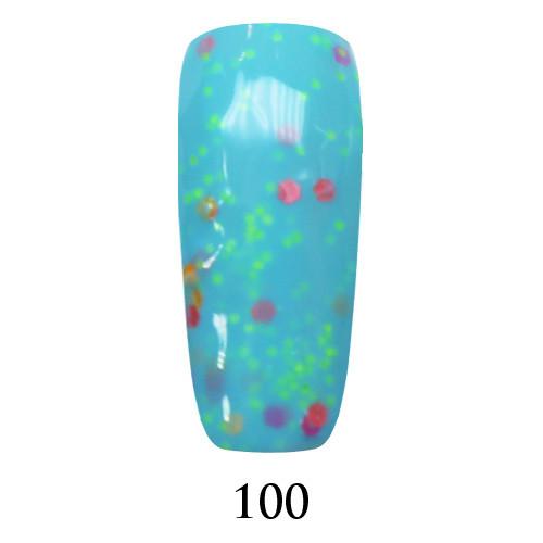 Гель лак Adore №100, голубой с цветным глиттером 9 мл