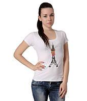 Футболка женская с эйфелевой башней белая, фото 1