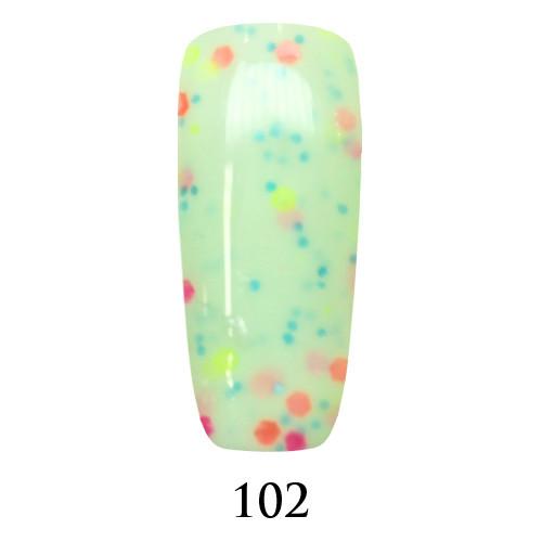 Гель лак Adore №102,  светлый мятный с цветным глиттером 9 мл
