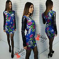 Платье из  дайвинга, рукава - эко-кожа