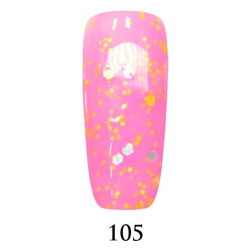 Гель лак Adore №105,  яркий розовый с цветным глиттером  9 мл