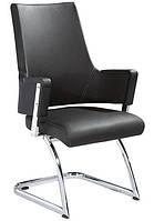 Кресло офисное Аризона Х черная искусственная кожа на хромированных полозьях