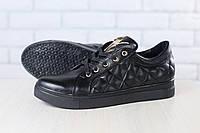 Кеды-криперы женские, из натуральной кожи, на шнурках, черные