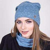 Модный комплект из шапки и хомута на весну 2017- Голубого цвета - Артикул 2042