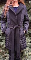 Пальто жіноче демісезонне з кашеміру вставками, фото 1