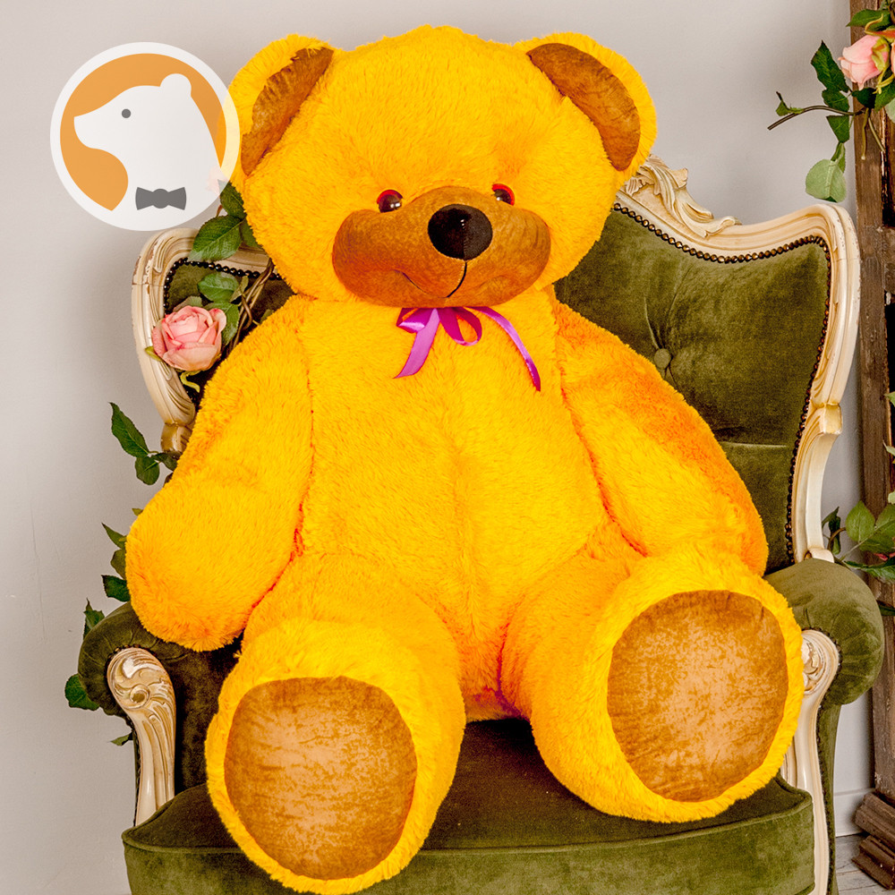 Большой плюшевый медведь Фокси, 130 см, оранжевый