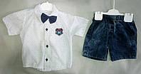 Нарядный детский летний костюм для мальчиков 1-4 года, рубашка с коротким рукавом с бабочкой, Турция, опт