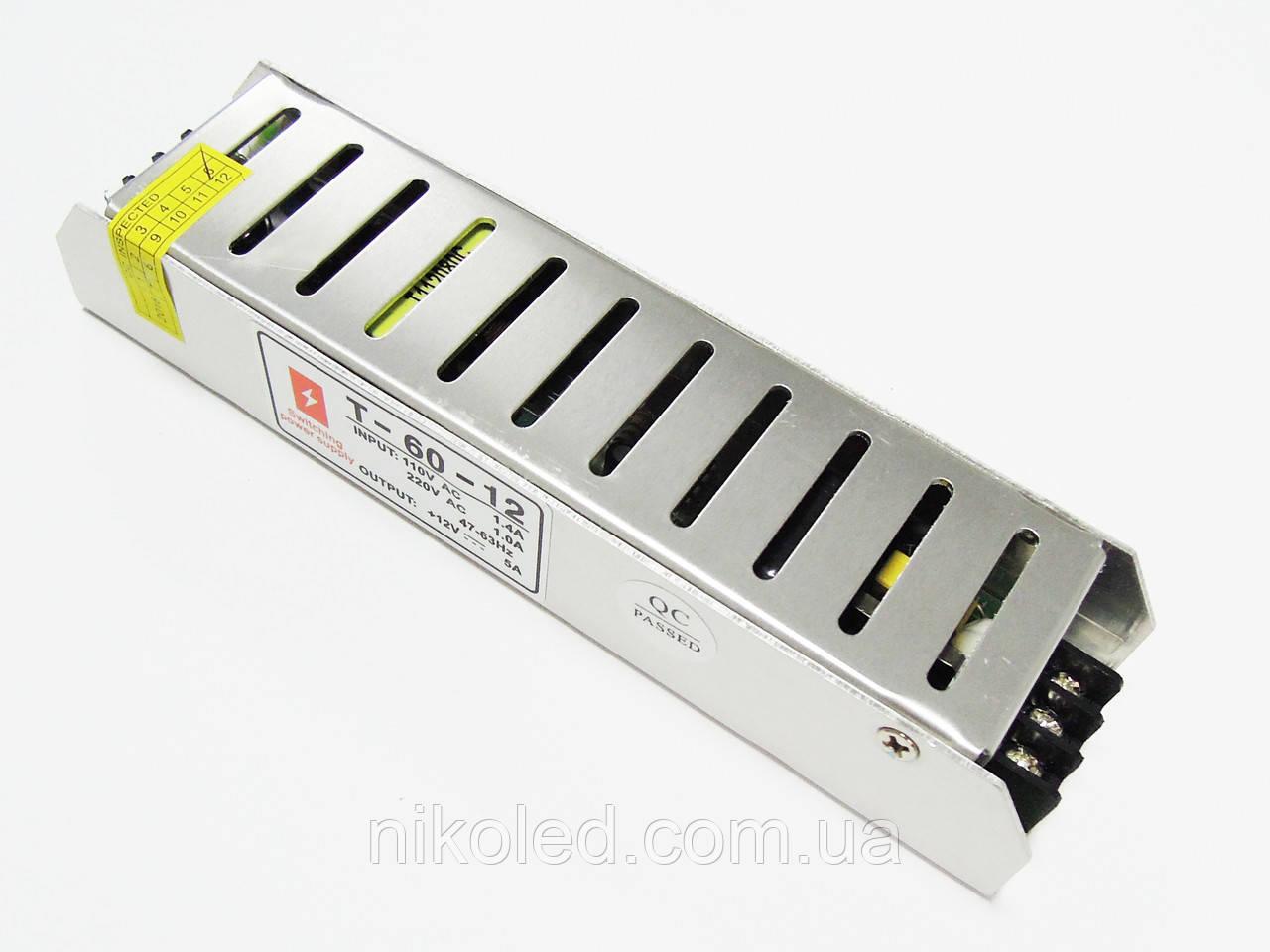 Блок питания негерм 220VAC 12VDC 5A Slim