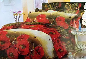 Полуторный комплект постельного белья Красные Маки