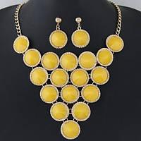 Шикарный комплект украшений колье и серьги с желтыми  камнями в миниатюрных стразах
