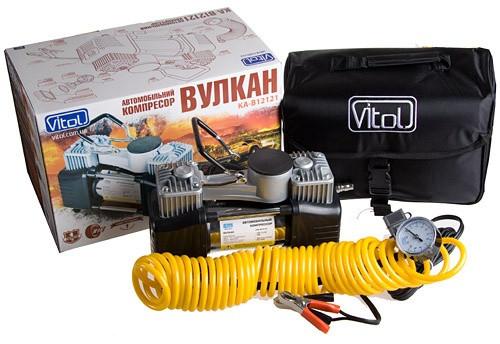 """Компрессор """"Вулкан"""" КА-В12121 150psi/18Amp/60л/клеммы/шланг 7,5м/2 цилиндра"""