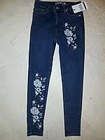 Джинсы женские высокая посадка цветы, фото 1