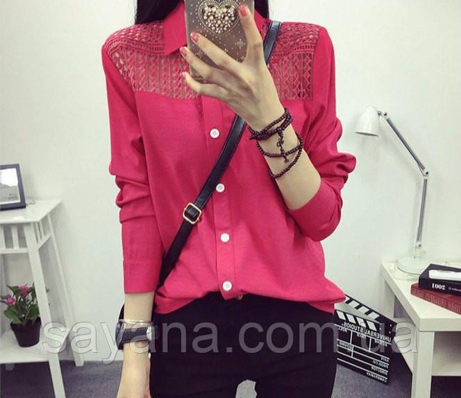 Женская рубашка из мягкого сатина с кружевом в расцветках. Ф-4-0317