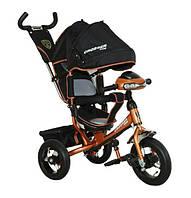 Велосипед детский трехколесный Azimut Trike Crosser AIR T1 ФАРА (надувные колёса) бронза