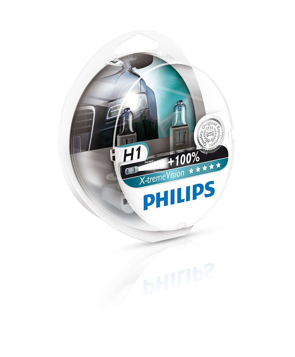 Комплект галогенных ламп PHILIPS 12258XVS2 H1 X-treme Vision SP 12V 55W