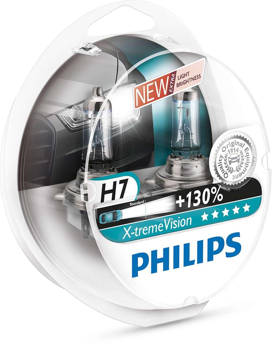 Галогенные лампы PHILIPS H7 X-treme Vision+130% 12V 55W 12972XV+S2