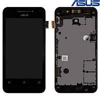 Дисплейный модуль (дисплей + сенсор) для Asus ZenFone 4 (A400CXG), с рамкой, черный, оригинал