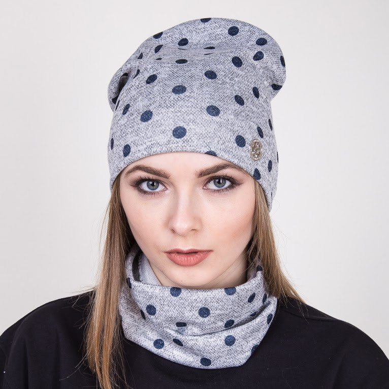 Весенний комплект из шапки и хомута для женщин - Серый мелкий горох - Артикул 2009