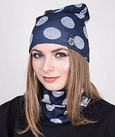 Женский комплект из шапки и хомута весна 2017- Крупный горох серый - Артикул 2039