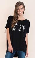 Молодежная летняя туника черного цвета с пайетками. Модель Farida Zaps, коллекция весна-лето 2017.