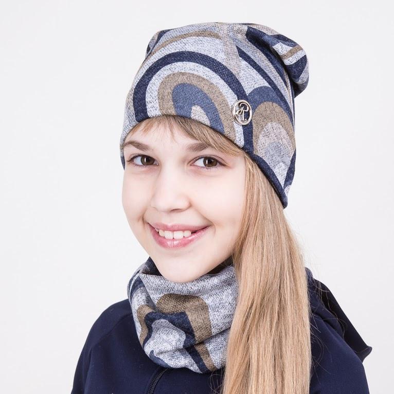 Комплект на весну из шапки и хомута для девочки - Смузи - Артикул 2040