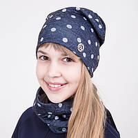 Весенний комплект из шапки и хомута для девочки - Артикул 2009b