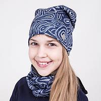 Комплект на весну из шапки и хомута для девочки - Артикул 2037