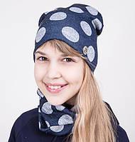 Комплект на весну из шапки и хомута для девочки - Шарики - Артикул 2039