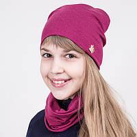 Комплект на весну из шапки и хомута для девочки розового цвета - Артикул 2044