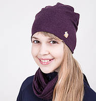 Комплект на весну из шапки и хомута для девочки бордового цвета - Артикул 2044