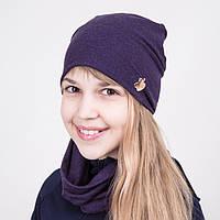 Комплект на весну из шапки и хомута для девочки фиолетового цвета - Артикул 2044