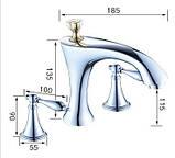 Смеситель кран для ванной комнаты двухвентильный, фото 6