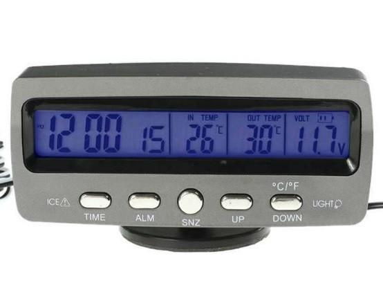 Автомобильные часы VST-7045V (вольтметр+2 термодатчика)