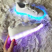 Детские (подросток ) белые светящиеся LED - кроссовки на липучках,30 и 33 размеры