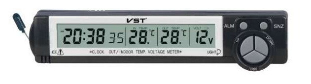 Автомобильные часы VST-7043V (+2 термодатчика+вольтметр)
