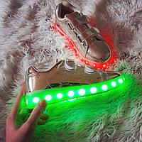 Детские (подросток) золотые светящиеся LED - кроссовки на липучках! 30размер!